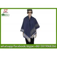 Buy cheap 260g 128*128cm 100%Acrylic Woven navy jacquard stripe poncho factory  keep warm fashion match clothes scarf from wholesalers