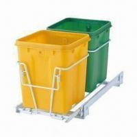 Buy cheap Sliding Rail Trash Double Bins, Made of Iron Wire/PP, Powder Coating Finish,Sized 40.5 x 22.3 x 26cm from wholesalers