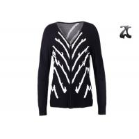 Buy cheap Jacquard Knit Ladies V Neck Cardigan Sweater With Full Zipper Skin Friendly Non Wrinkle from wholesalers