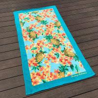 Buy cheap Pineapple Ananas Printed Beach Towels Blue Border With Comfortable Feeling from wholesalers