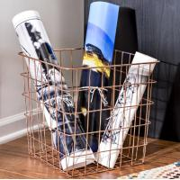 Buy cheap Carbon Steel Rectangle 13 Inch Wire Basket Copper Magazine Storage Basket from wholesalers