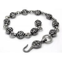 Biker Bracelet Stainless Steel Bangle Bracelets For 8.5 Inches Vintage Old Metal Finishing