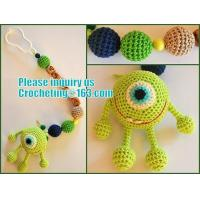 Buy cheap personalized pacifier clip,natural wooden beads dummy clip,pacifier holder,soother clip with amigurumi MaikVazovski from wholesalers