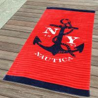 Buy cheap 350gsm Cool Anchor Plain Beach Towel  with Red and Blue Stripe 75*140cm from wholesalers