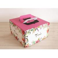 Buy cheap Custom Colored Kraft Paper Cake Boxes With Handles Self - sealing Pastry Boxes from wholesalers