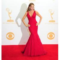 Buy cheap V Neck Red Lace Celebrity Evening Dresses Sofia Vergara , Long Evening Gowns from wholesalers