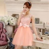 Buy cheap Hot Fashion O-neck Lace Bride Bridesmaid Dress 2014 Short Dress for Girls Red/Champagne/Pink Vestido De Noite In Stock from wholesalers