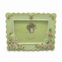 Buy cheap OEM Polyresin Photo Frame with Hand-painted Rose Decoration, Meets EN71 and CPSIA Standard from wholesalers