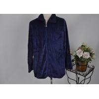 Buy cheap Black blue white ladies / men coral fleece jacket and trims with 2 way zipper and pocket from wholesalers