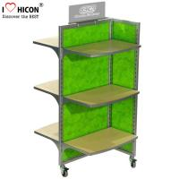 Buy cheap Movable Floor Standing Retail Store Fixtures 3 - Way Wood Toy Display Shelves from wholesalers