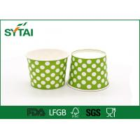 Dot Pattern Printed Recycled Ice Cream Paper Cups , Customized Logo Ice Cream Bowls