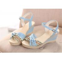 Colorful PU Straps Upper Women'S Wedge Sandals , Beautiful Ankle Strap Wedge Sandals