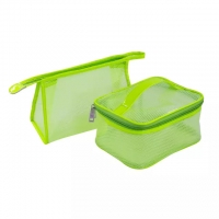 Buy cheap Waterproof Green Travel PVC Mesh Zipper Cosmetic Bags from wholesalers