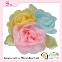 Buy cheap Colorful Handmade Chiffon Flowers With Green Leaves , beautiful handmade rose flowers from wholesalers