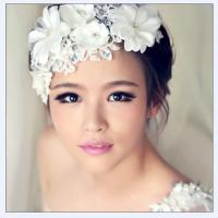 Buy cheap Handmade lace flowers pearl bridal hair accessories bridal headdress flower head from wholesalers
