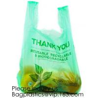 Buy cheap Biodegradable Reusable Plastic T-Shirt Bag Eco Friendly Compostable Grocery Shopping Thank You Recyclable bagease packag from wholesalers