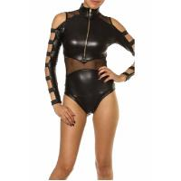 Buy cheap Cool sleeveless part nylon sheer teddy leather lingerie from wholesalers