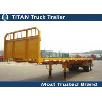 Buy cheap Tri - axle flatbed semi trailer truck for Carry container , hoses , cement bags from wholesalers
