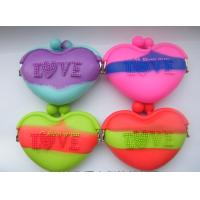 Buy cheap AAA Quality ! Cheapest Mixed Color Silicone Coin Purse Heart silicone Pouch bags from wholesalers