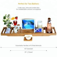 Buy cheap Durable Bamboo Bathroom Supplies Expandable Bamboo Bathtub Caddy Tray from wholesalers