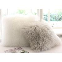 Buy cheap Double Sided Sheepskin Soft Fuzzy Pillows , Real Mongolian Fur Cushions from wholesalers