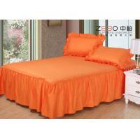 3cm Strip Elegant Hotel Bed Skirts Detachable Orange Color 200gsm