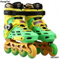 Buy cheap Street Slalon Inline Skate Shoes 4 Wheels Roller Patins Shoe Men Women Blade Skating Shoes Green Yellow Color  (DA1007) from wholesalers