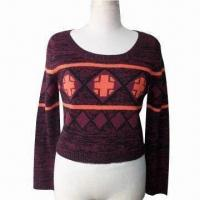 China Women's Short Colorfull Jacquard Pullover with Long Sleeves and Big Crew Neck on sale