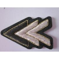 Buy cheap Handmade Bullion Wire Embroidery Badge V Shape Shoulder Emblem from wholesalers