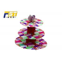 China Eco - Friendly Cardboard Cupcake Tower Stand 3 Layers CMYK Printing With Art Paper on sale