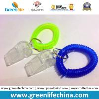 Buy cheap Plastic Green/Blue Wrist Coil Keychain W/Transparent Whistle for Alerting product