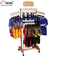 Buy cheap Wooden Retail Clothing Store Fixtures Grid Wall Panel Display With Hooks product