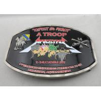 Buy cheap Zinc Alloy / Pewter Troop Belt Custom Made Buckles Antique Nickel Plating with soft Enamel from wholesalers