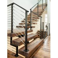 Buy cheap Carbon steel center stringer L-shape solid wood staircase with glass railing product