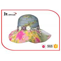 Buy cheap Colorful Polyester Flower Brim Wide Brimmed Straw Sun Hats For Women from wholesalers