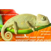 Buy cheap 260gsm RC super gloss waterproof inkjet RC photo paper from wholesalers