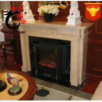 Buy cheap indoor decoration handcarved wall mounted natural marble stone antique fireplace surround home decorate fireplace cover from wholesalers