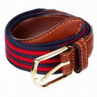 Buy cheap Fashionable Stripe Webbing Canvas Belt with Real Leather Tab and Alloy Pin Buckle product