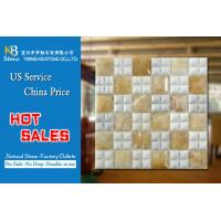 China Yellow white marble wall panel marble mosaic tiles 305 x 305mm on sale