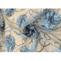 3D Embroidered Flower Sequin Lace Fabric With Cirrus Beaded For Ceremony Gown