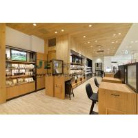 Buy cheap Interior design of a simple cosmetics store in natural oak wood panel wall decoration and in-wall cabinet with shelves from wholesalers