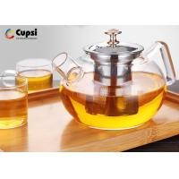 Buy cheap Gold Plating Clear Glass Teapot With Removable Infuser 304 Stainless Steel from wholesalers