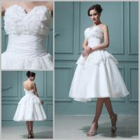 Buy cheap Customized Flower Lace Chiffon Backless Wedding Dresses Tea length Ball Gown from wholesalers