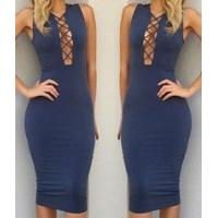 Buy cheap Fashion Colorful Long Sleeve Bandage Dress Slim Sexy Skirt in Winter from wholesalers
