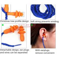 Buy cheap Soft Silicone Corded Ear Plugs ears Protector Reusable Hearing Protection Noise Reduction Earplugs Earmuff from wholesalers