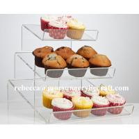 Buy cheap Countertop 3 Tier PMMA Display Stand Clear Acrylic Cup Cake Holder from wholesalers