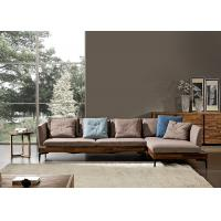 Buy cheap Walnut Ash Wood Modern Leather And Fabric Sofa Solid Structure For Home / Lobby from wholesalers