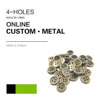 Buy cheap Custom 4 Holes Metal Clothing Buttons Antique Brass Color Bulk Fashion Apparel from wholesalers
