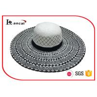 Buy cheap Customized 100% paper straw hat , black and white wide brim sun hat for women from wholesalers