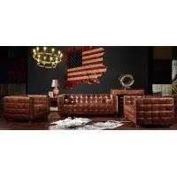 Buy cheap Hotel Furniture Soft Leather Sofa Set Top Grain Real Material Long Service Time from wholesalers